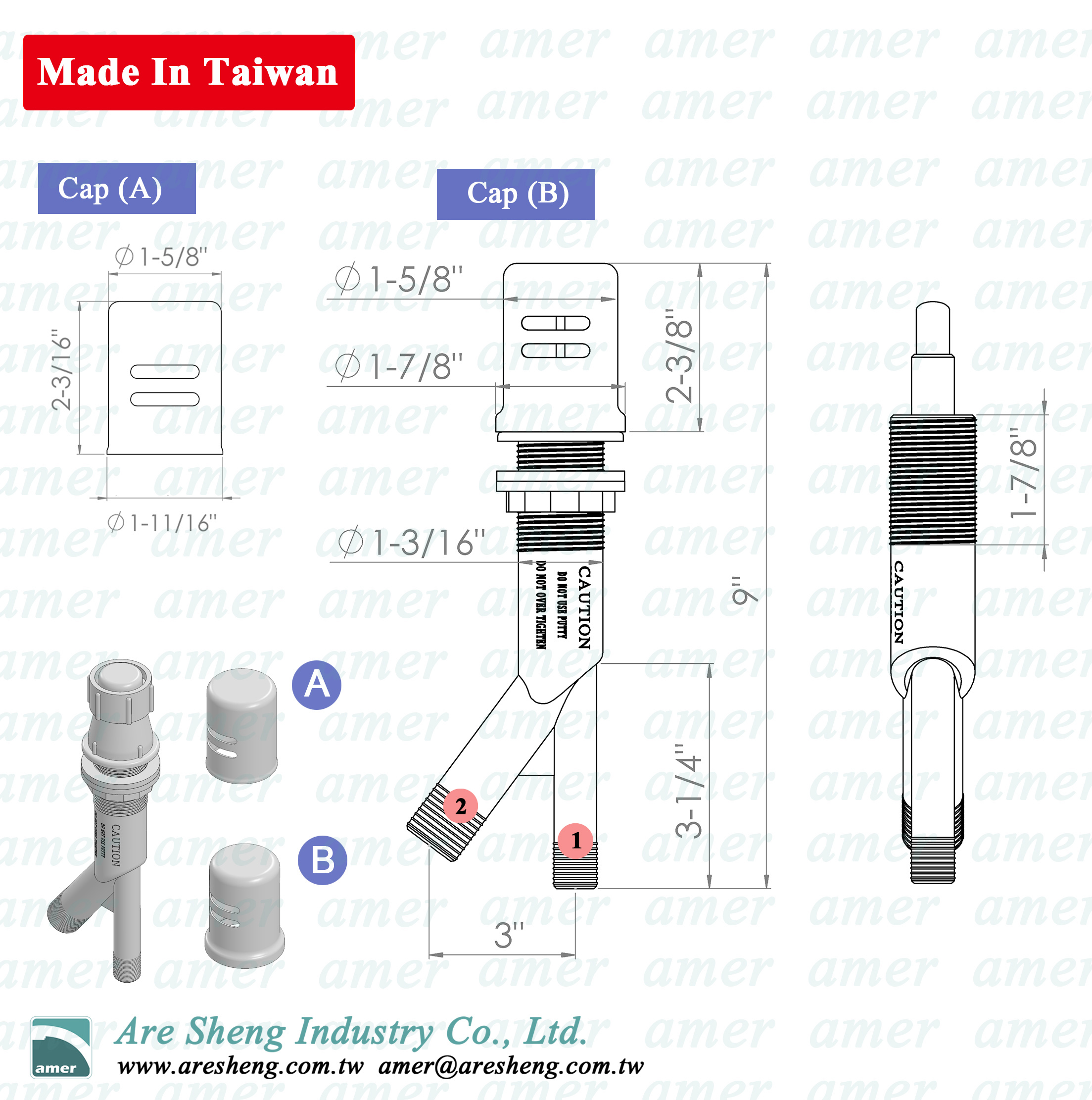 Dimension of dishwasher air gap - made in Taiwan