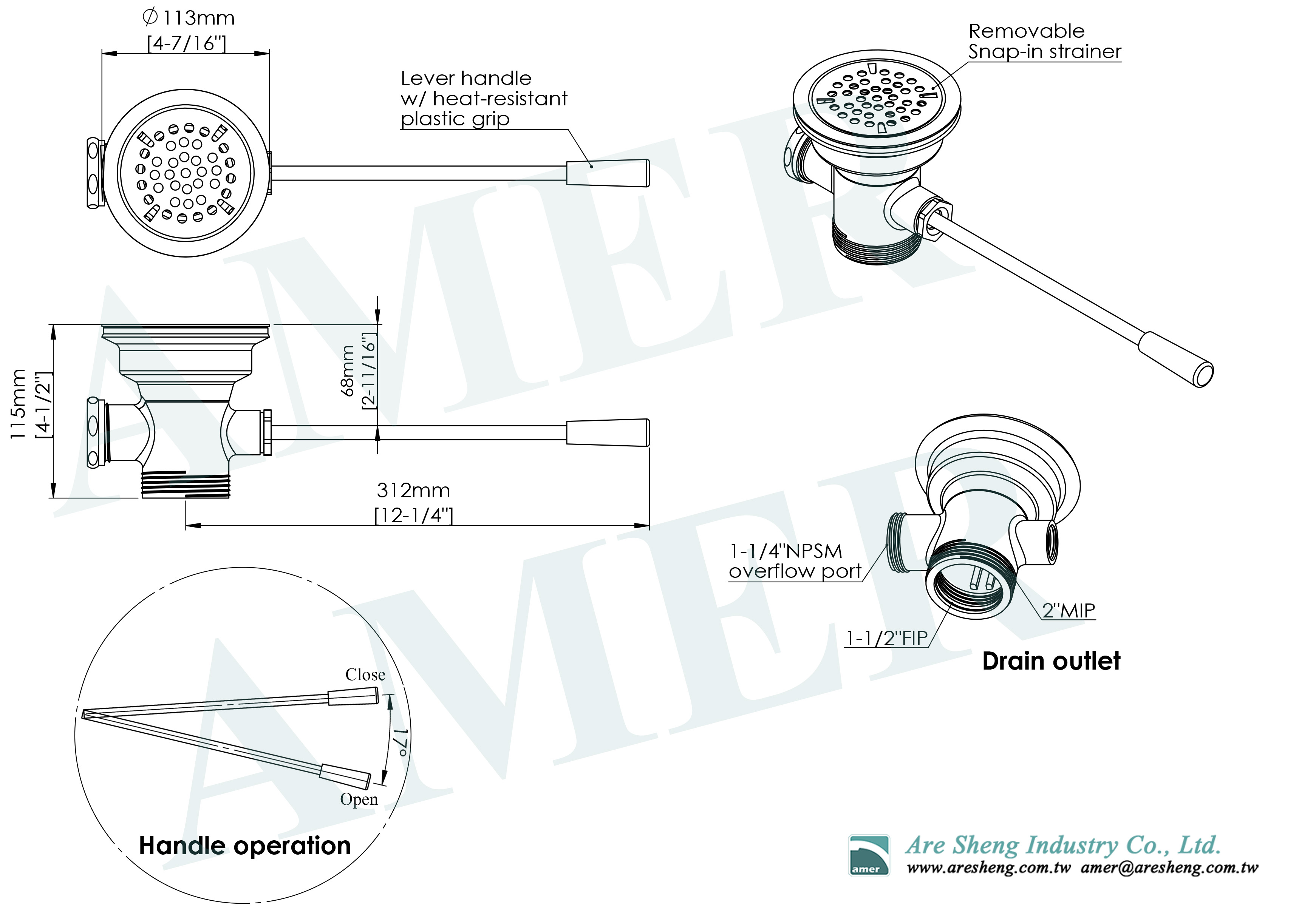 D79-008-lever handle waste valve with overflow port-dimension drawing1