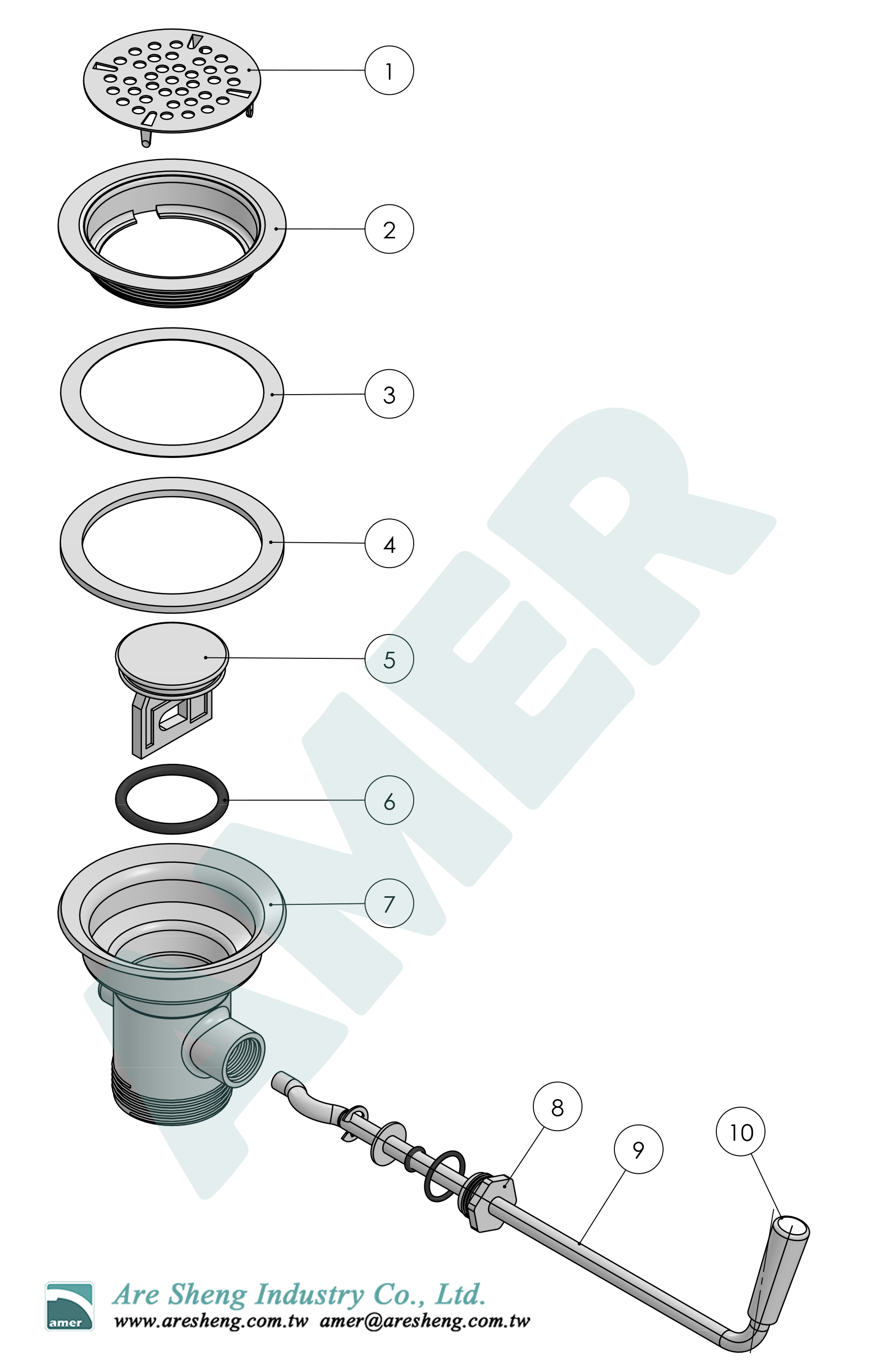Twist handle waste valve no overflow-explosion drawing