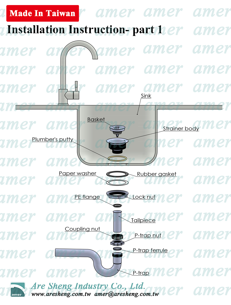 sink strainer installation illustration