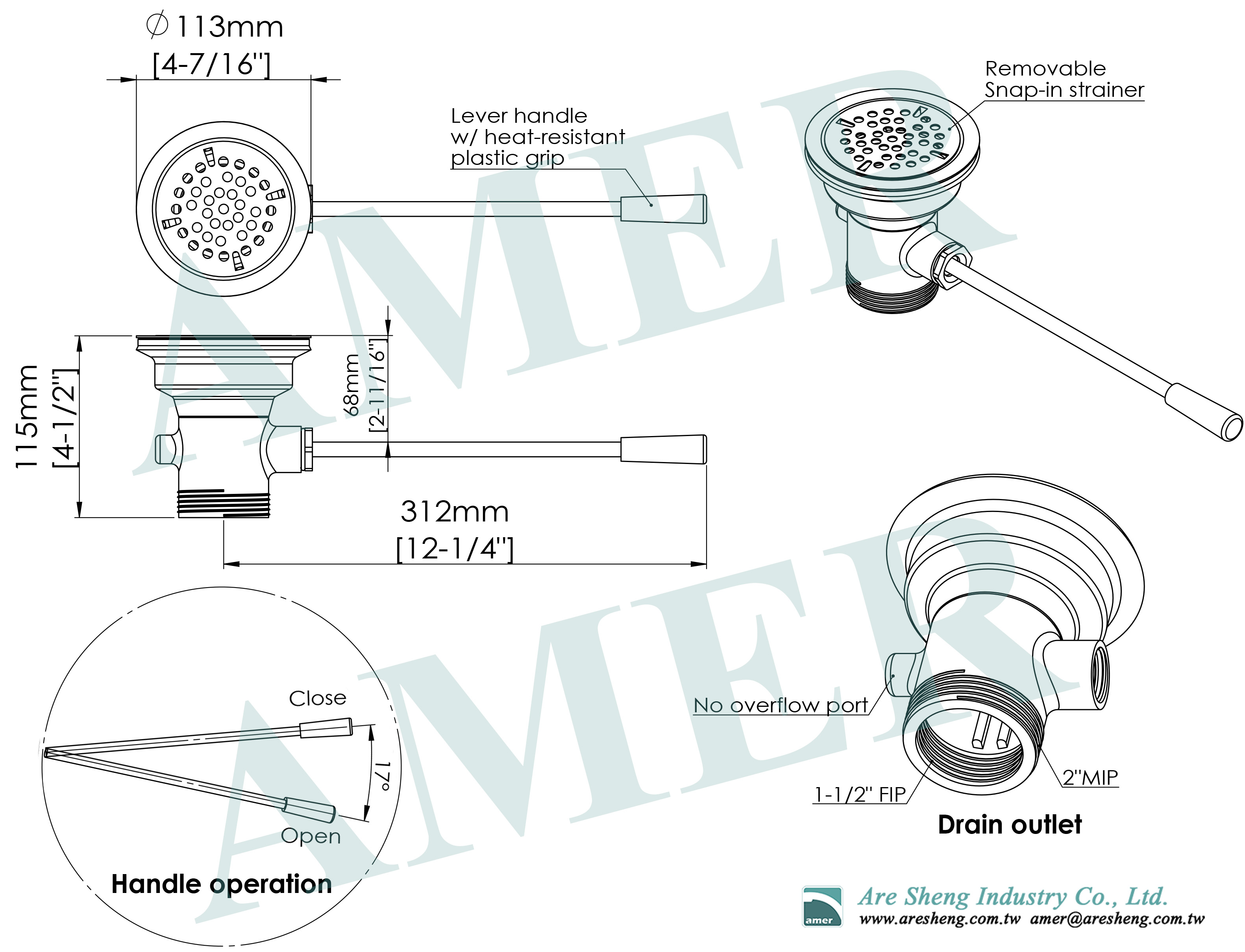 waste valve lever handle drain dimension drawing