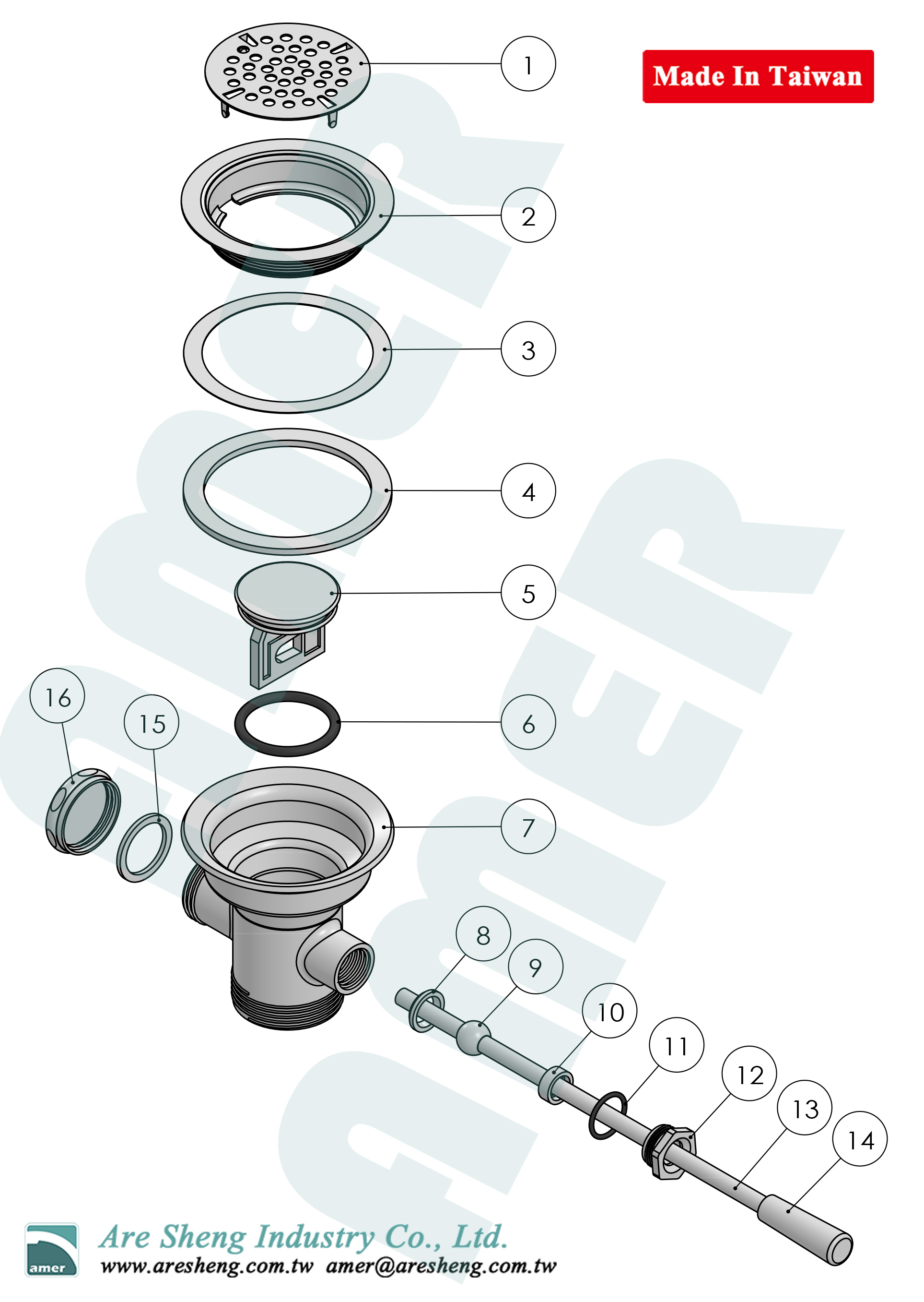 waste valve lever handle explosion drawing