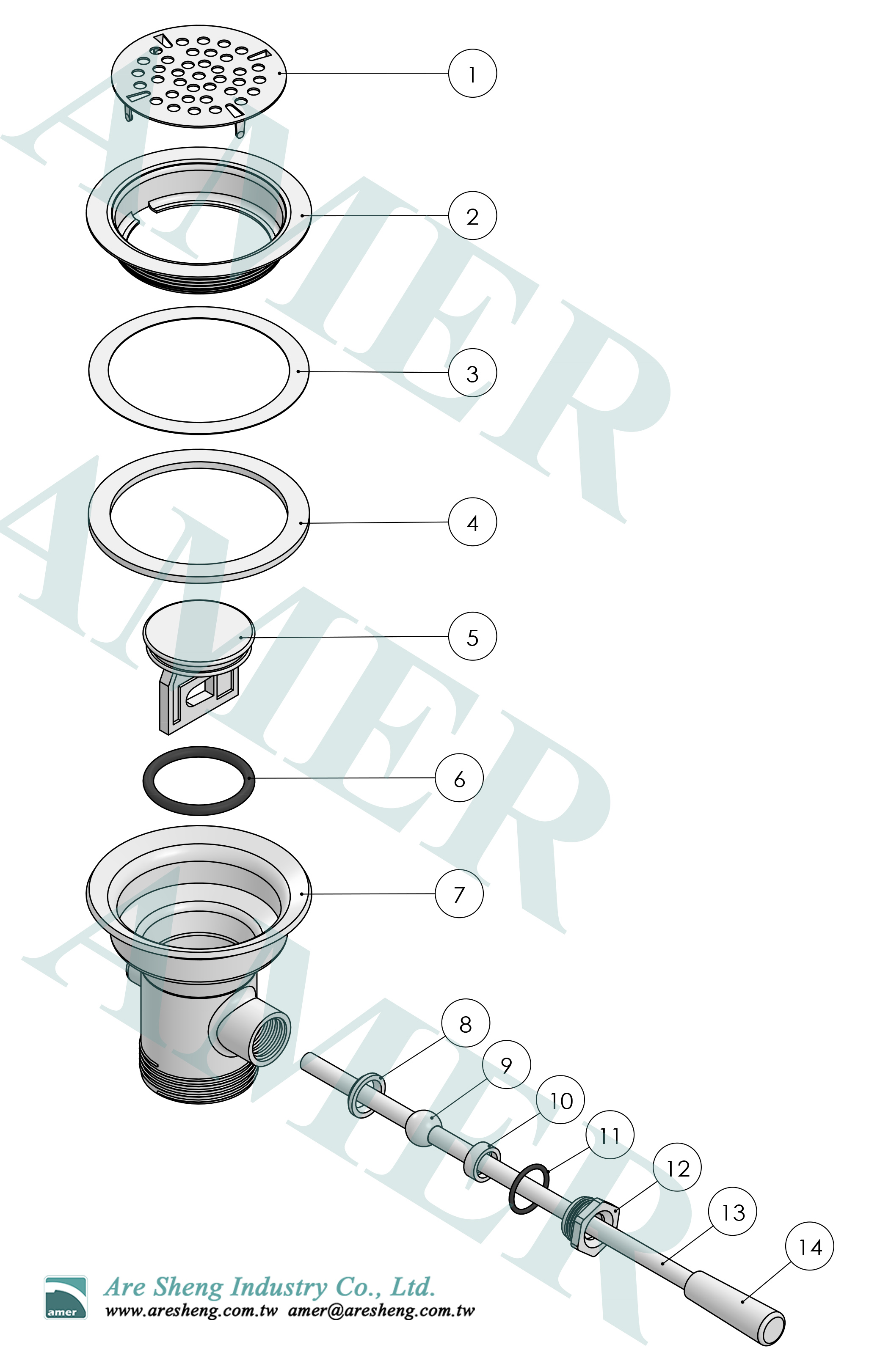 waste valve lever handle explosion drawing no overflow