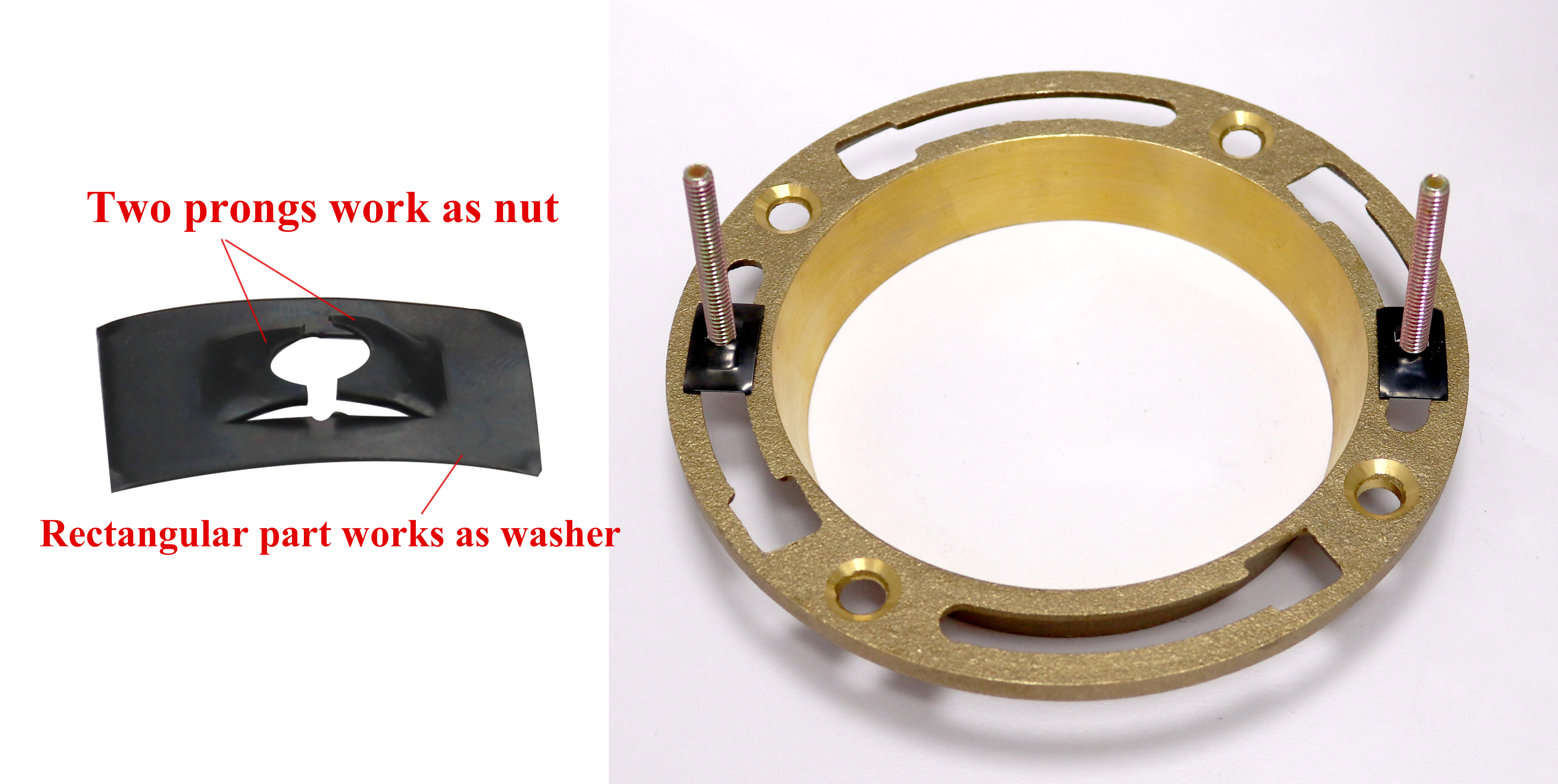 conf B-toilet flange fix with speed nut