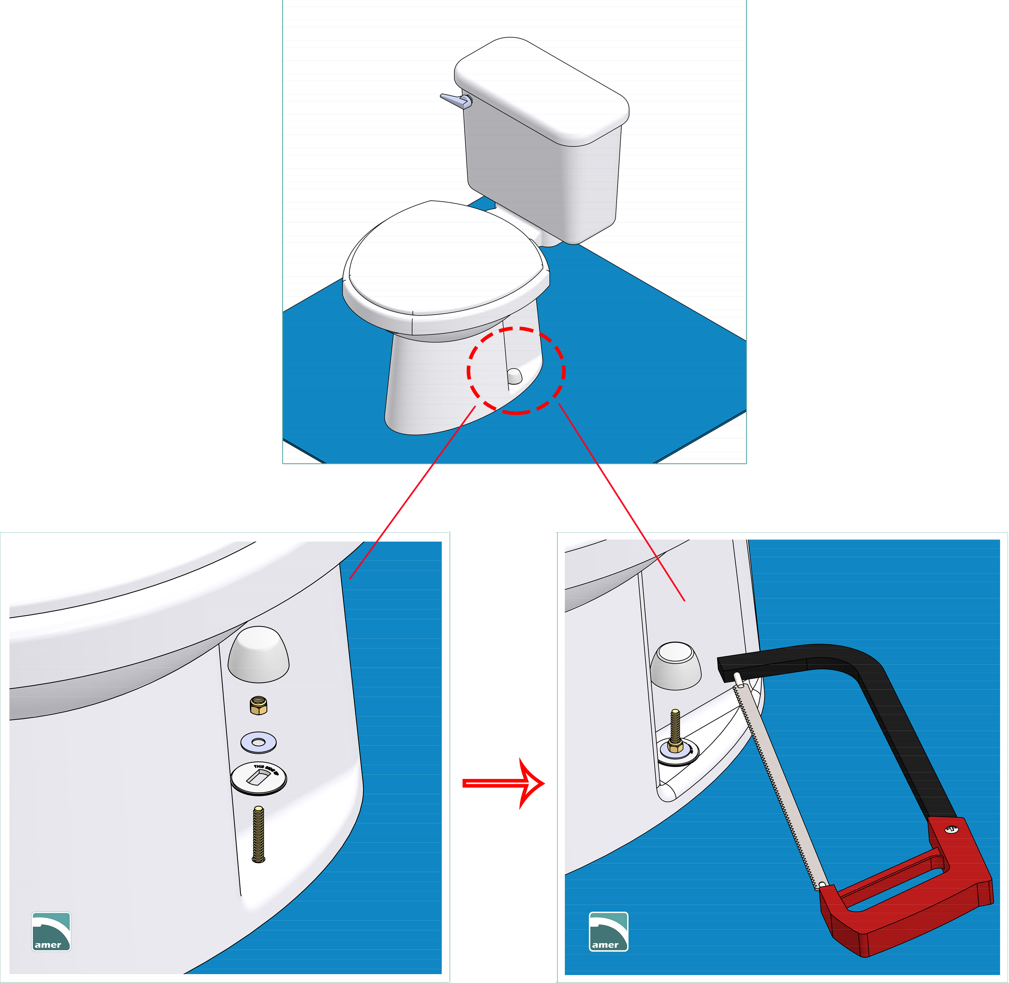 step 8- install the toilet cap