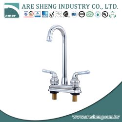 Brass bar faucet with lever handles and gooseneck spout 031-01CP