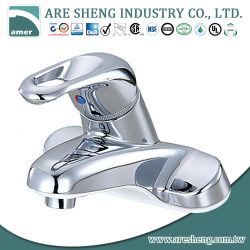 "4"" single lever bathroom faucet in chrome finish, loop handle 02-001LP"