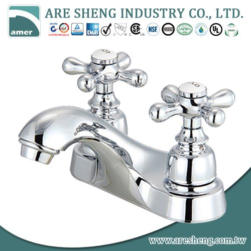 "4"" brass lavatory faucet with cross handle in chrome finish 02A-018"