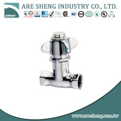 Self-closing brass shower valve, with metal cross handle 281-002