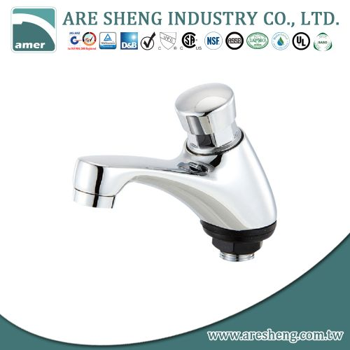 Push-on brass basin faucet, chrome plated 281-007