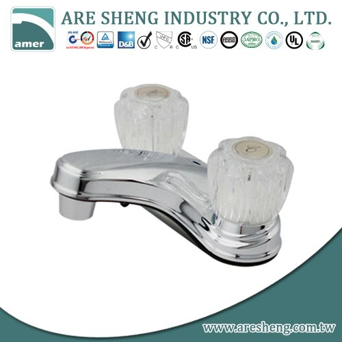 "4"" plastic lavatory faucet with acrylic handle, chrome plated D06-002"