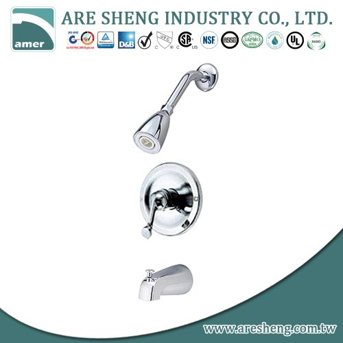Tub & shower set with single metal handle and plastic shower head D09-001