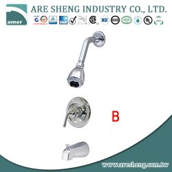 Brass pressure balanced tub & shower set with single bell handle and spout D09-002B