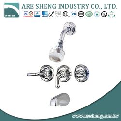 3 lever handles tub & shower faucet with spout and plastic shower head D09-004