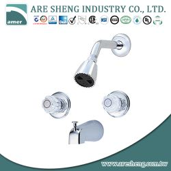 Two acrylic handles tub & shower set, with zinc diverter spout D10-003