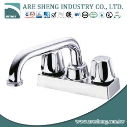 "4"" brass laundry faucet with tubular spout and dual handles 03-010"