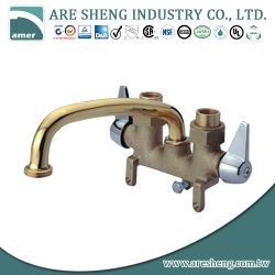 Brass laundry tray tap with metal handle and 8 inch tubular spout 04A-023