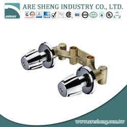 Brass washing machine faucet, two handles with flange D03-002