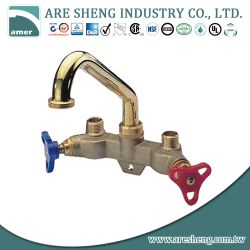 "Brass laundry tray tap with 6"" high spout and dual handles D03-003"