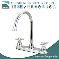 Chrome brass kitchen faucet with two cross handle #01-016