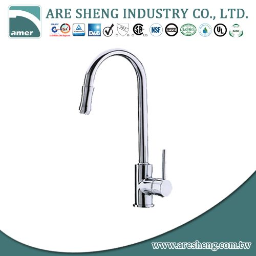 Single hole kitchen faucet with metal handle D01-002