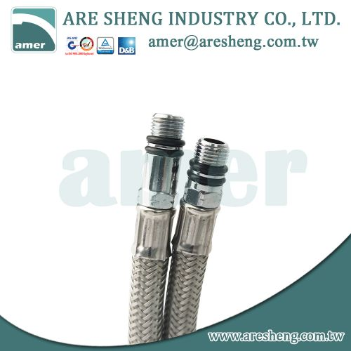 M10 x 3/8 COMP stainless steel braided faucet connector | Taiwan Are Sheng