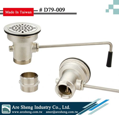 Brass waste valve with grid strainer- twist handle