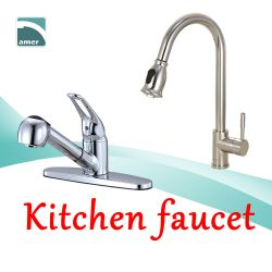 Various kitchen faucet in different styles like pull down spout, gooseneck spout, pre-rinse spout, single lever and loop lever handle from Are Sheng